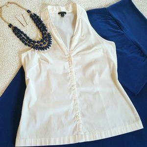 Ann Taylor, cutaway/sleeveless, button-up, Sz. 6